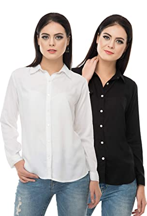 9d95a4837cc5e Sequend Premium Cotton Black White Full Roll up Sleeve Combo 2 Formal Shirt  Imported sea Shell Button Detailing  Amazon.in  Clothing   Accessories
