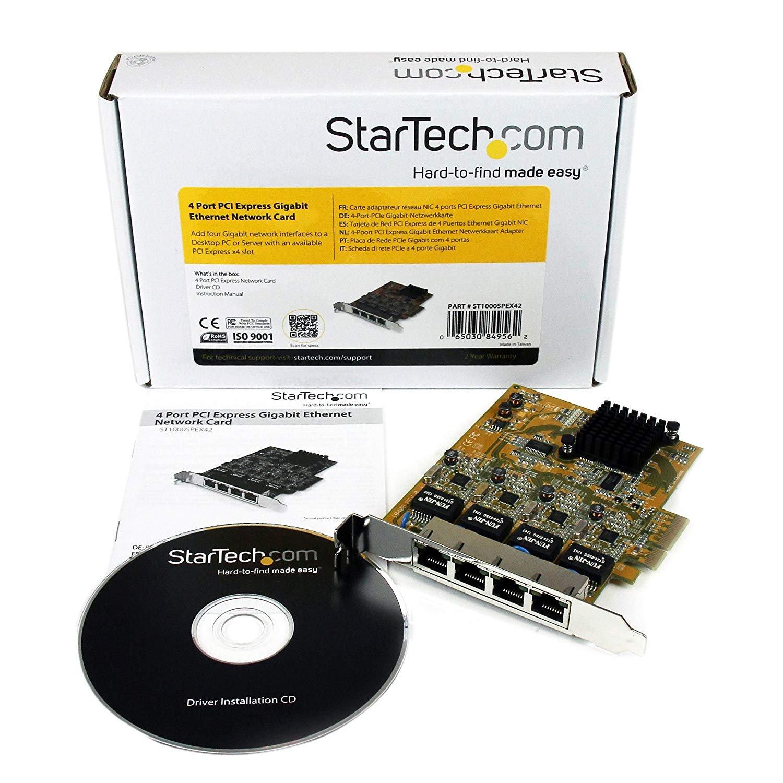 Startechcom 4 Port Pci Express Pcie Gigabit Ethernet Nic Network Netgear Gs105e100pes Switch 5port Vlan Green Adapter Card Computers Accessories