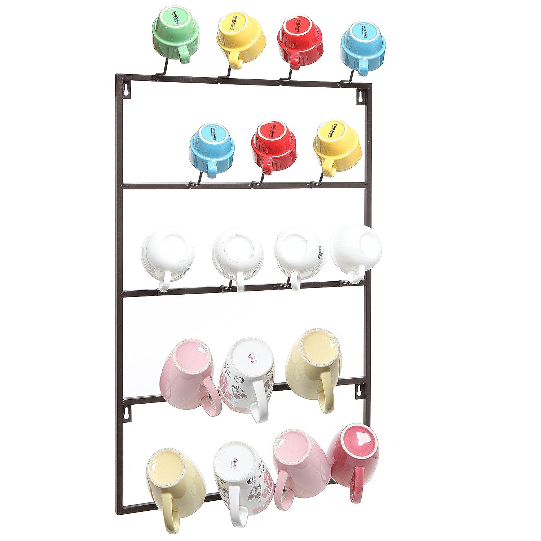 5 Tier Black Metal Wall Mounted Kitchen Mug Hook Display/Cup Storage Organizer Hanger Rack - MyGift COMIN16JU042369