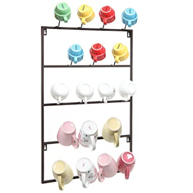 5 Tier Brown Metal Wall Mounted Kitchen Mug Hook Display / Cup Storage Organizer Hanger Rack - MyGift