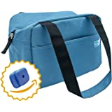 Homely Bliss Insulated Lunch Bag With 2 Free Ice Packs - Sylishand Compact Lunch Box Great for Commuting, Work and School. (Steel Blue)