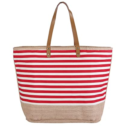 a3d9a6e0e603 Image Unavailable. Image not available for. Color  Canvas Tote Bag with  Jute combination Red Nautical Stripes Zipper ...