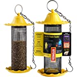 Finch Bird Feeders For Outside [Set of 2] Yellow Wild Bird Feeders - Seeds Will Attracts Birds To Backyard & Garden 5…