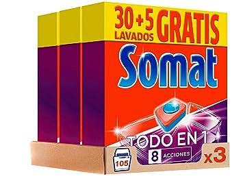 Somat Pastillas Lavavajillas Todo en 1 - Pack de 3, Total: 105 ...