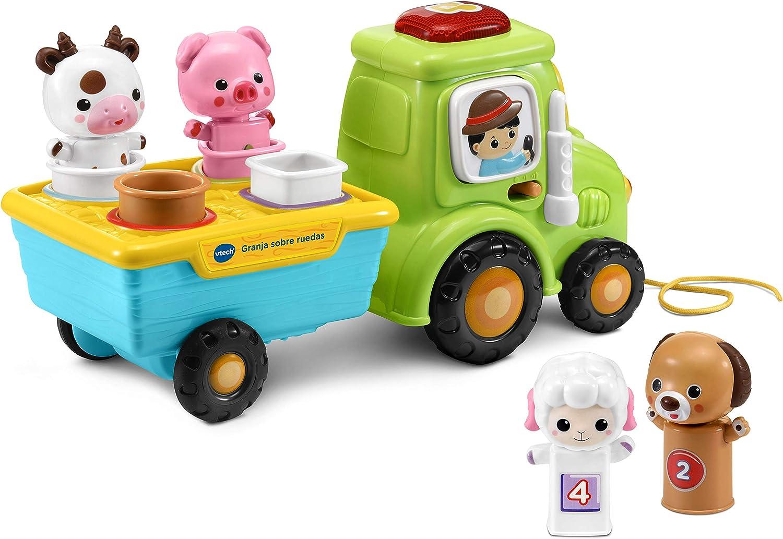 VTech Granja sobre Ruedas, Tractor Interactivo con Cinco pasajeros para Encajar y Aprender Animales, números y Colores, más de 65 Canciones, melodías y Sonidos (3480-533022)