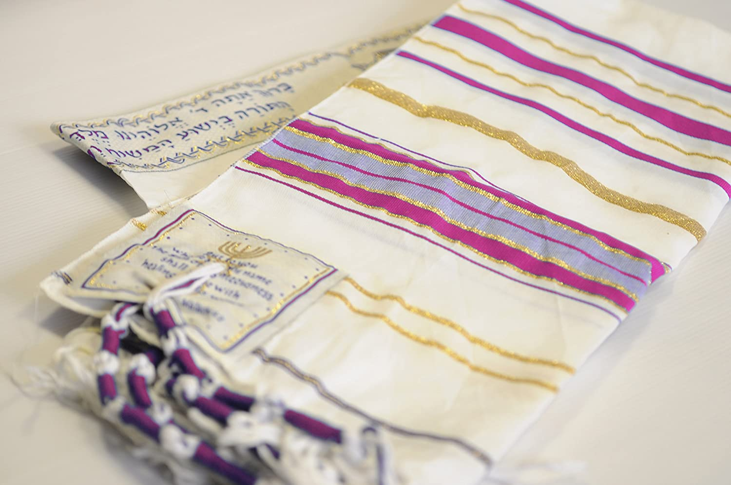 Messianic Tallit Prayer Shawl Talit Pink And Gold With Talis Bag Spring Nahal