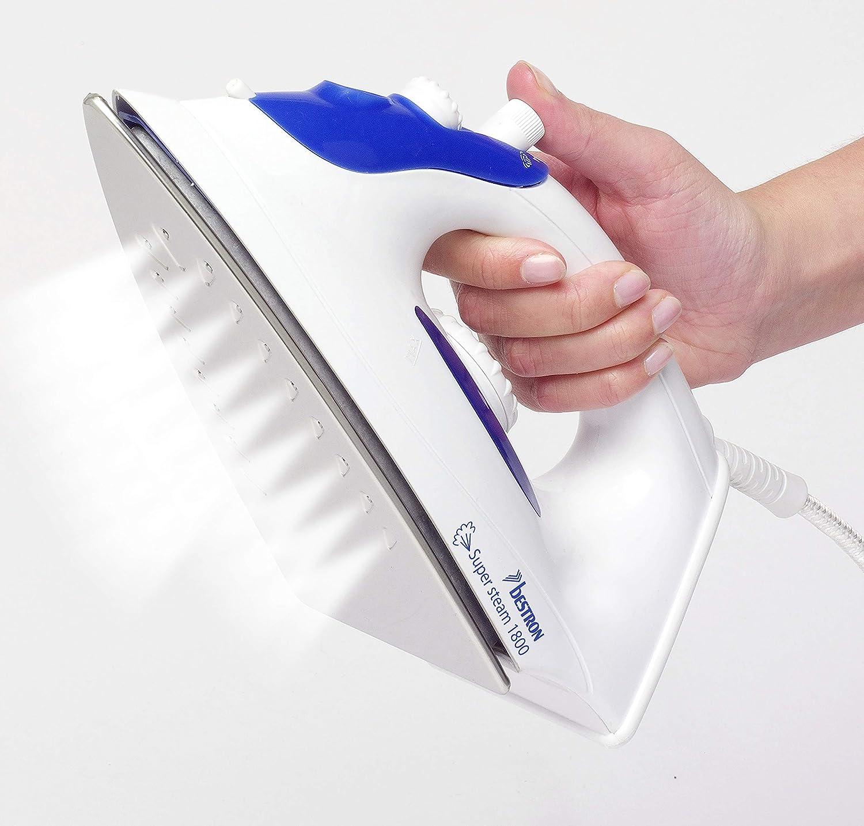 Bestron Plancha a Vapor con Suela de Acero Inoxidable Easy Home Blanco//Azul 1800 Vatios R/áfaga de Vapor 12g//min