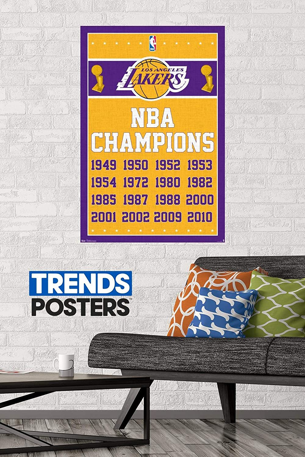 22.375 x 34 Multi Trends International Los Angeles Lakers-Champions 13 Clip Bundle Wall Poster