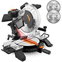 Miter Saw, Tacklife 15Amp 12inch Single Bevel Saw with 13ft/4M, Laser Guide, Adjustable Cutting Angle, 2 Blades, Clamping Device, Ideal for DIY Project - PMS02X