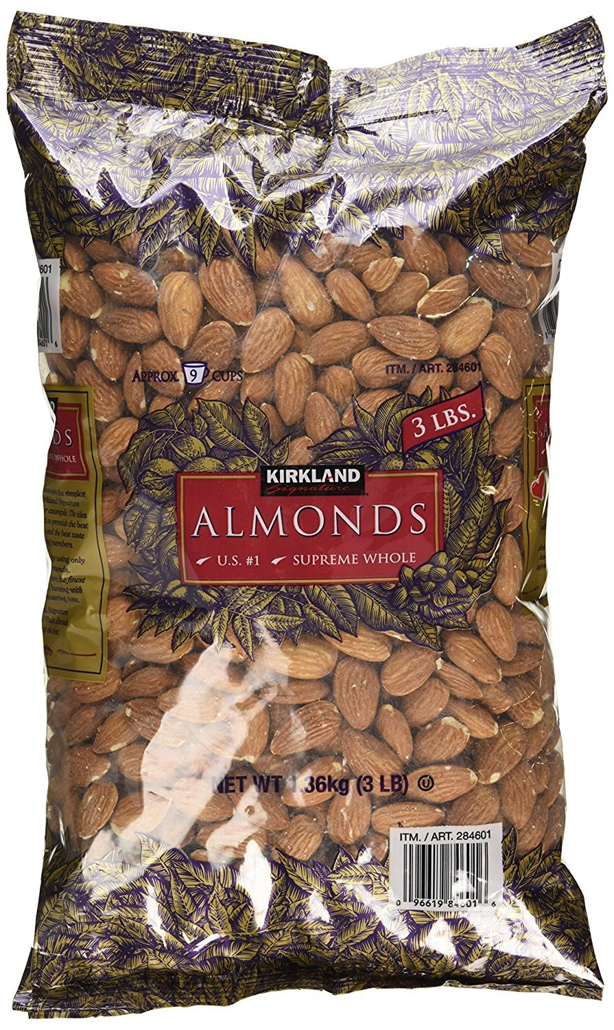 Kirkland Signature jOxBtG Supreme Whole Almonds, 3 Pound (4 Pack)