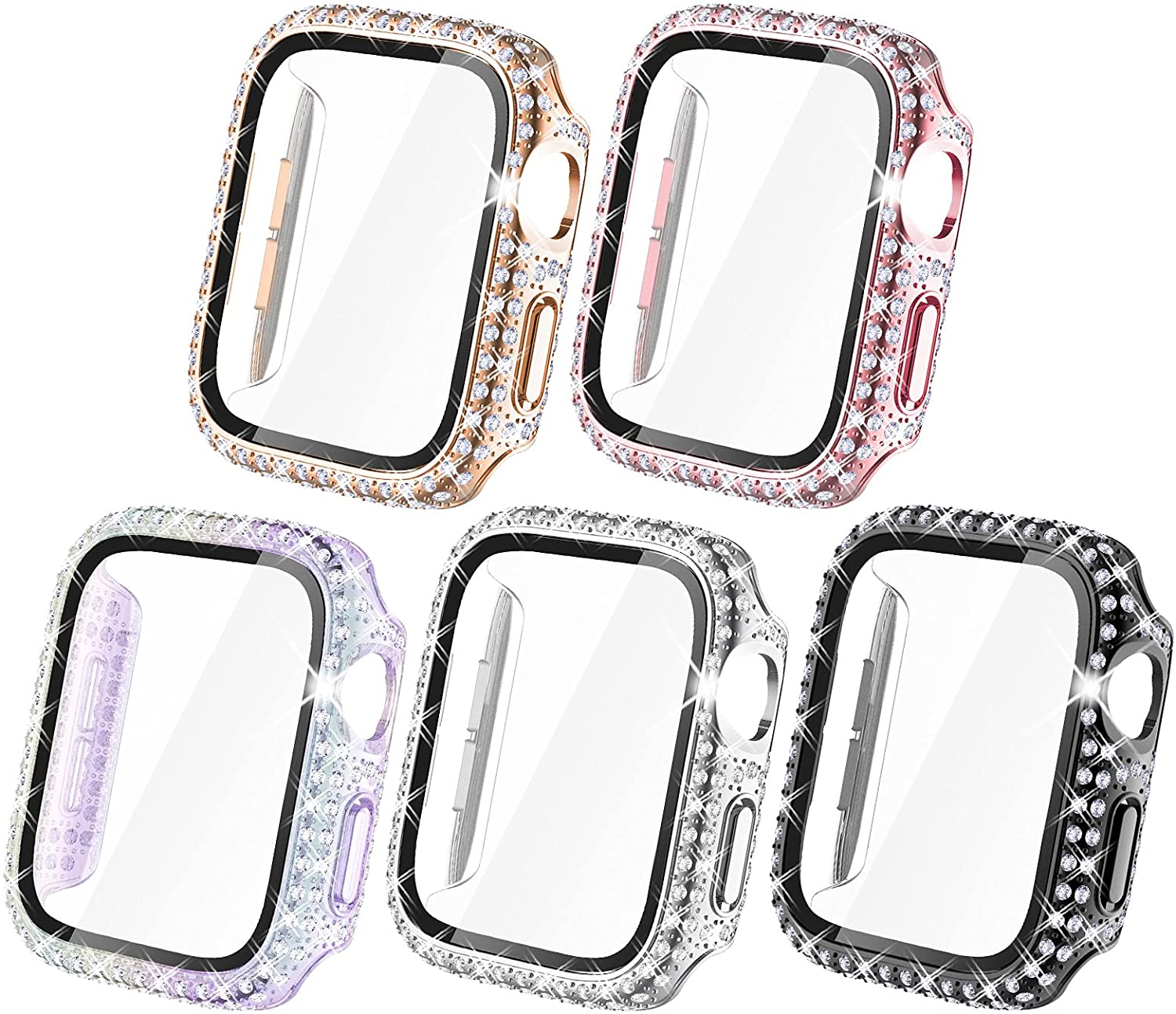 NewWays Bling Cases with Screen Protector Compatible for Apple Watch 38mm 40mm 42mm 44mm, Protective Cover for iWatch SE Series 6 5 4 3 2 1 (40mm, Black/Pink/Rose Gold/Silver/Iridescent)