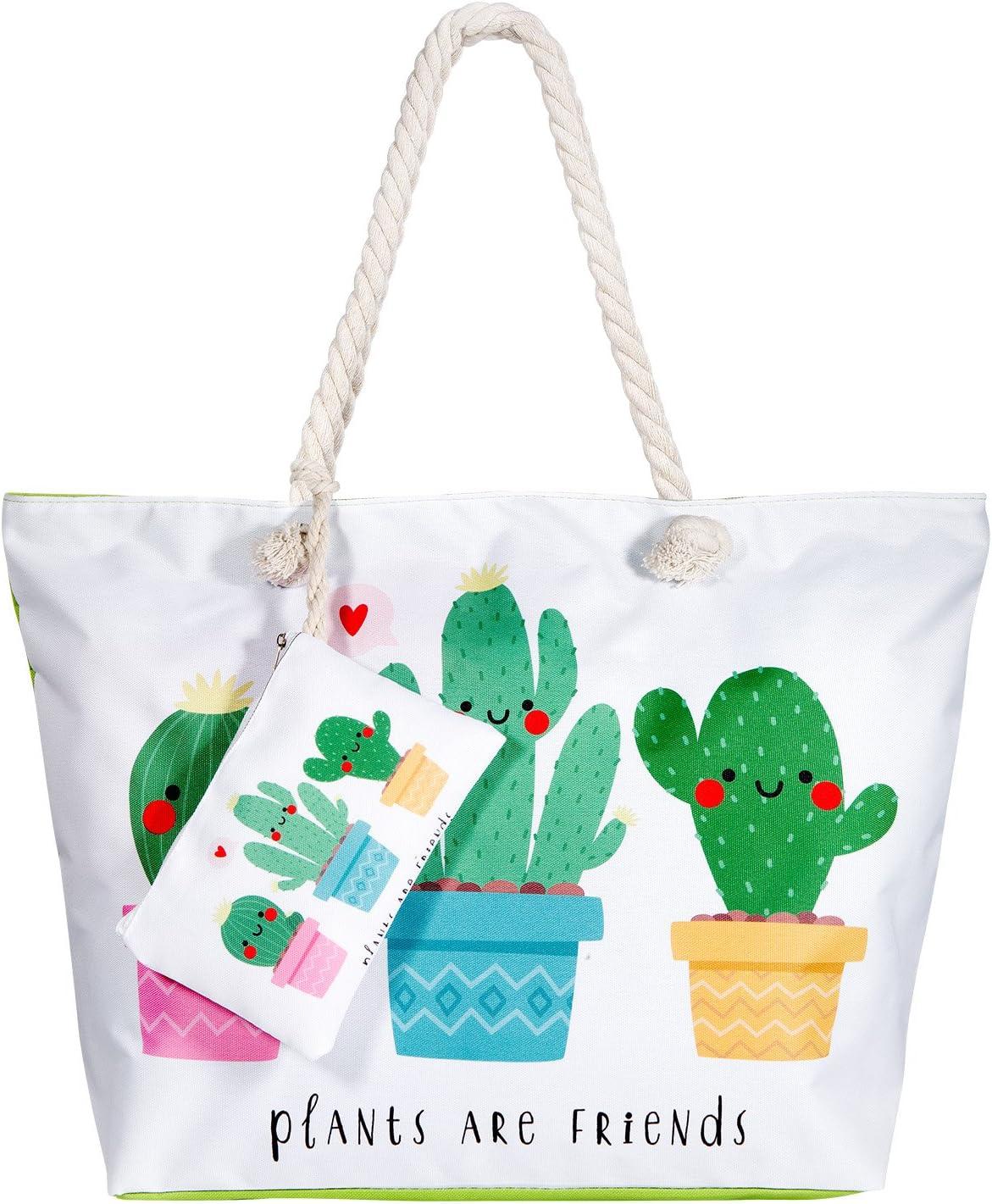 Comius Bolsa de Playa, Bolsa de playa grande con cremallera, Bolso de Mano de Lona Mujer, Shopper Bolsa Totalizadores del Recorrido (C)