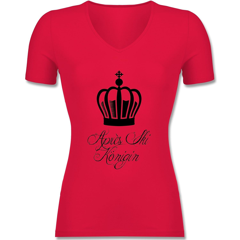 Après Ski - Apres Ski Königin - tailliertes T-Shirt mit V-Ausschnitt für Frauen