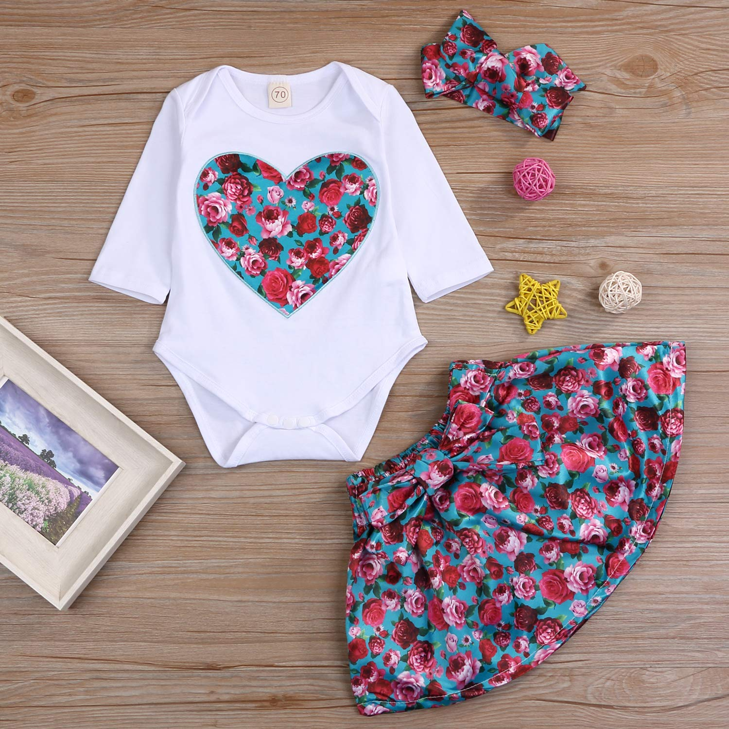 New Born Baby Girls Floral Outfits Rose Heart Printed Romper White Toddler Long Sleeve top Romper and Skirt with Headband
