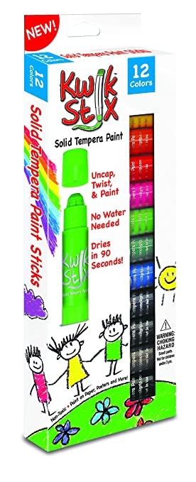 The Pencil Grip Kwik Stix Solid Tempera Paint, Super Quick Drying, 12 Pack (TPG-602)