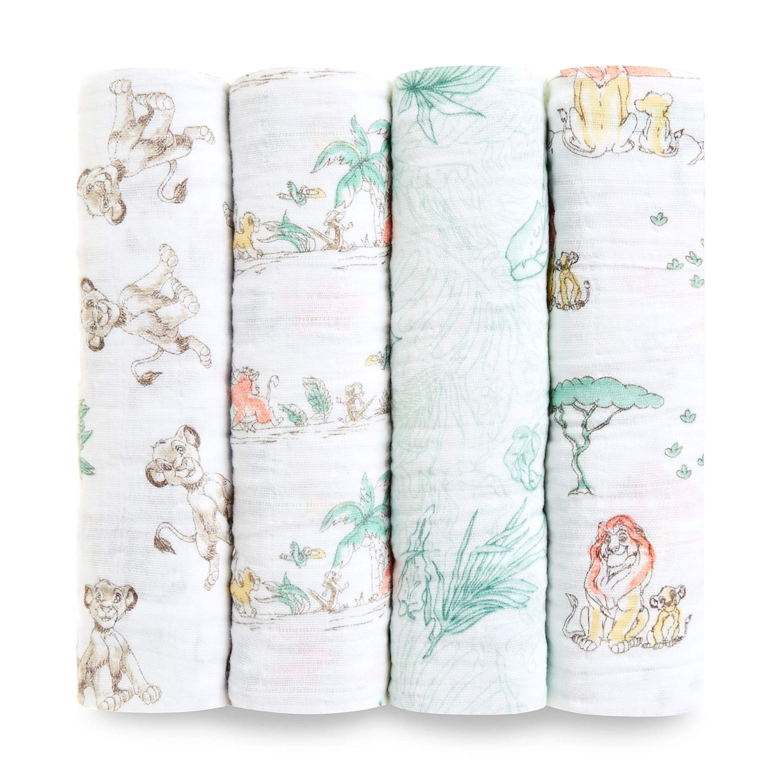 aden + anais Disney, Swaddle Blanket | Boutique Muslin Blankets for Girls & Boys | Baby Receiving Swaddles | Ideal Newborn & Infant Swaddling Set | Perfect Shower Gifts, 4 Pack, Lion King by aden + anais
