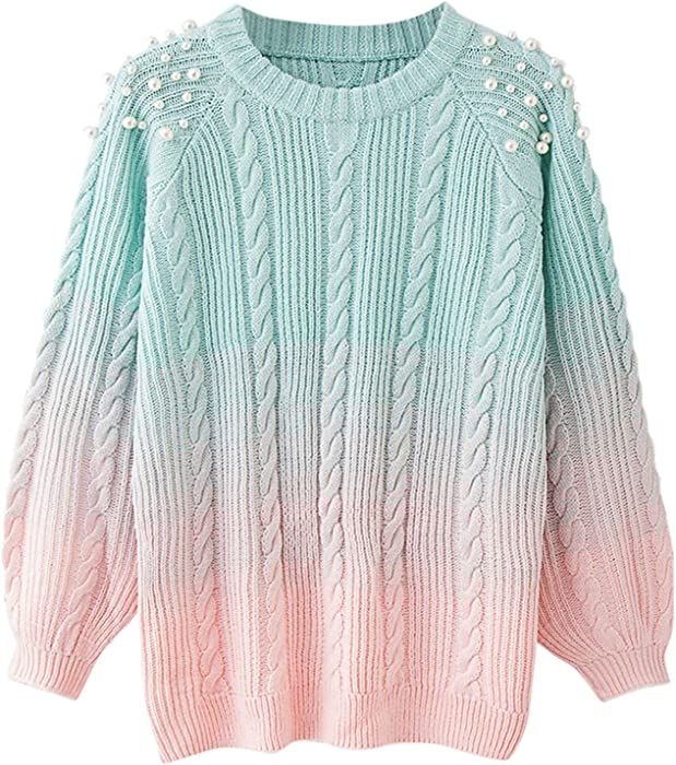 8bb78ccfa6 Pearl Beading Women Sweaters Gradient Pink Warm Knitwear Pullovers Jumper  Top Multi