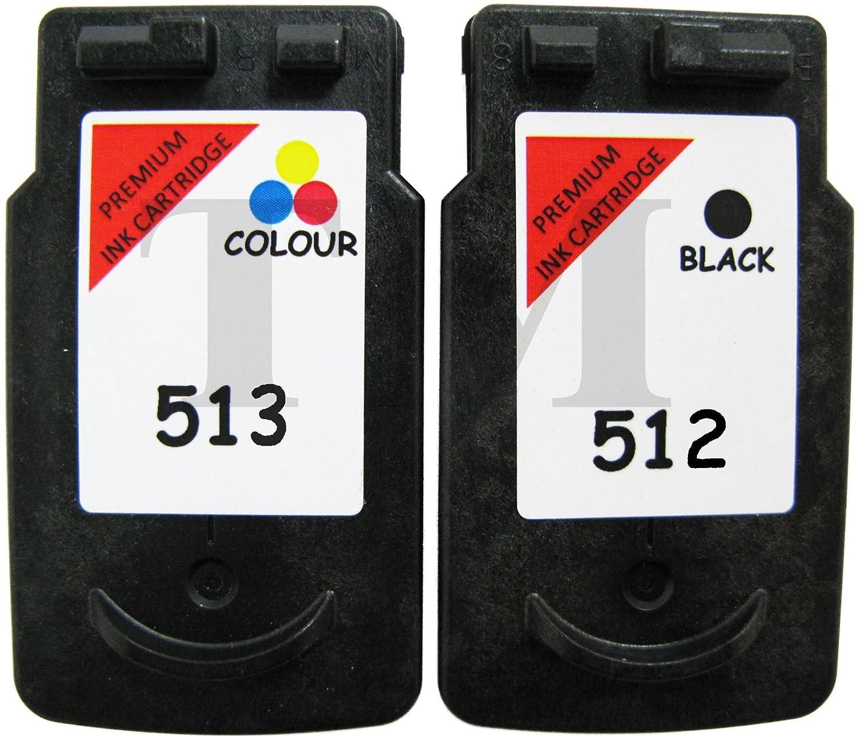 Pack de cartuchos de tinta reciclados equivalentes a PG-512 y CL-513 de tinta negra y de color para impresoras Canon Pixma iP2700, iP2702, MP230, ...
