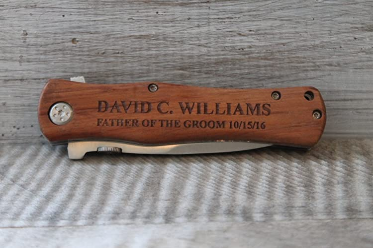 Personalized-Laser Engraved Wood Handle Pocket Knife-Groomsmen Gifts-Best Man Gift