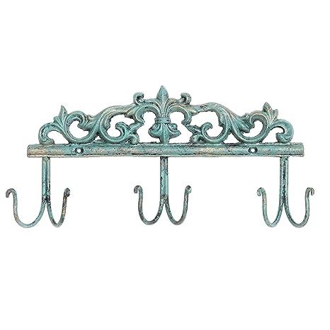 Amazon Vintage Style Rustic Turquoise Metal 40 Hook Coat Rack Impressive Metal Coat Rack Wall Mounted