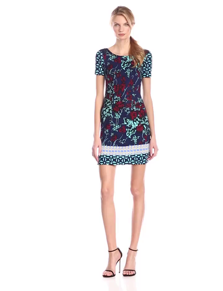 Plenty by Tracy Reese Dresses Women's Franca Short Sleeve Ponte Shift Dress, Twilight Tile Garden, 0