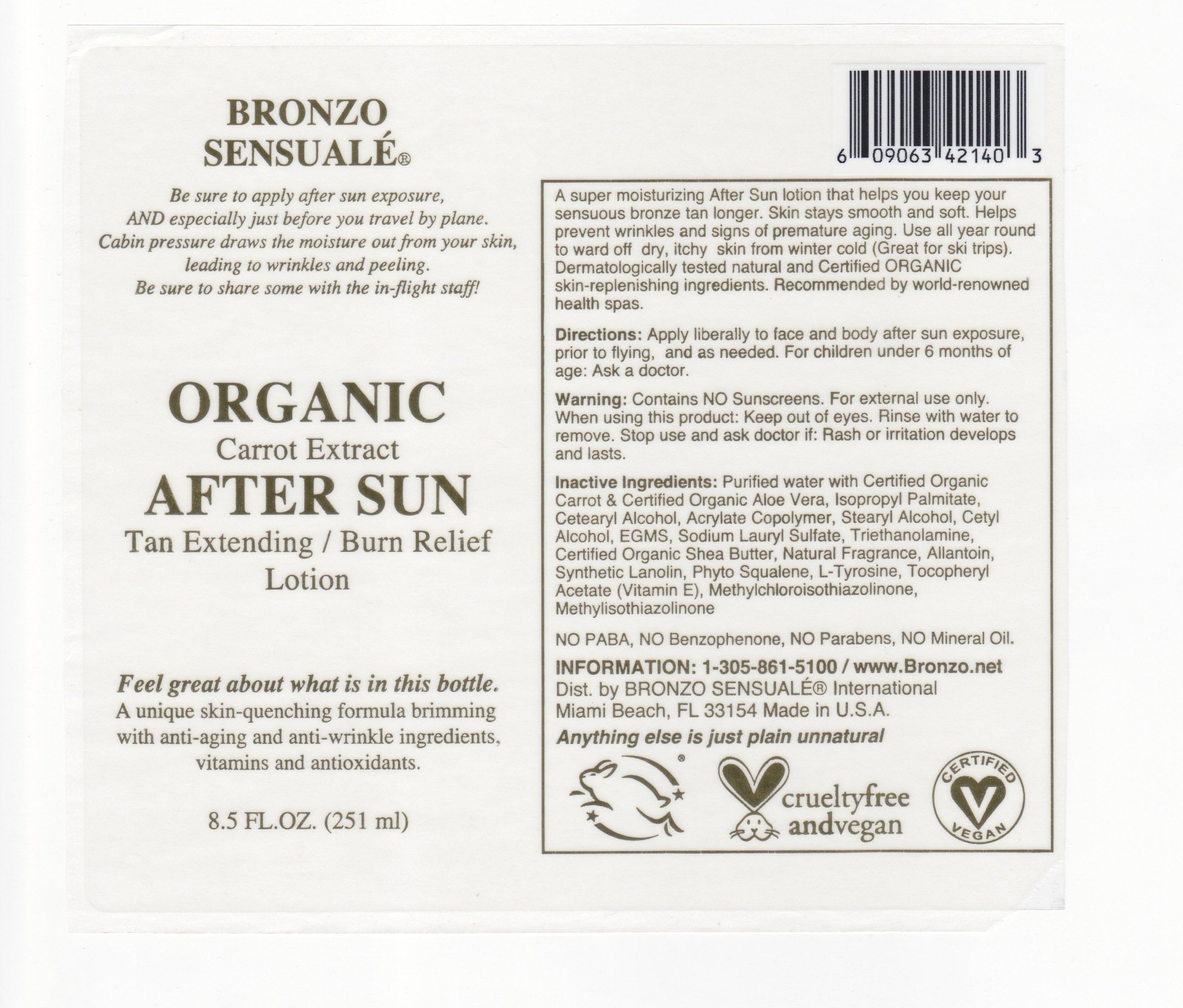 Bronzo Sensualé After Sun and Sun Tan Extender Carrot Lotion 8.5 Ounces by BRONZO SENSUALE (Image #7)