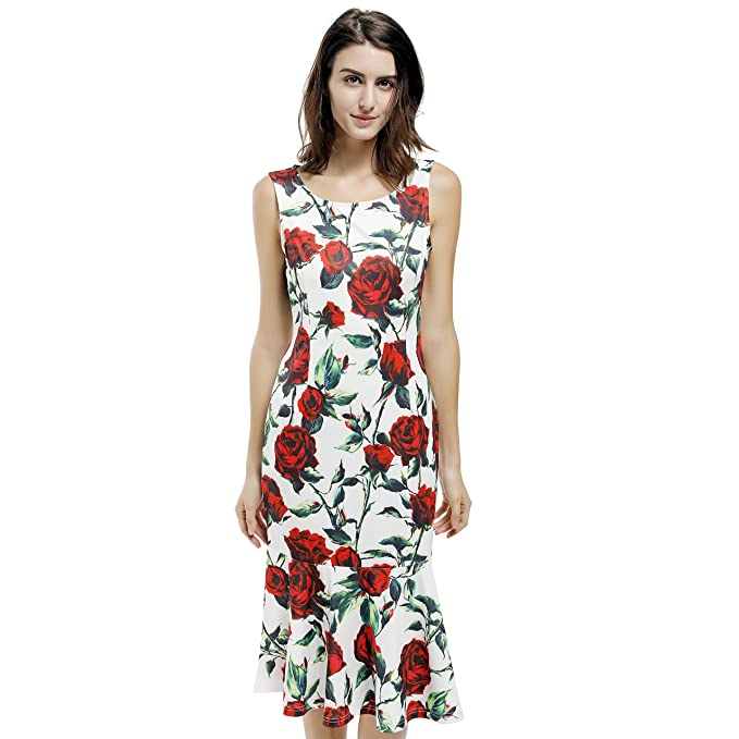 Blooming Jelly Womens Vintage Retro Sleeveless Rose Print Fishtail Party Midi Dress