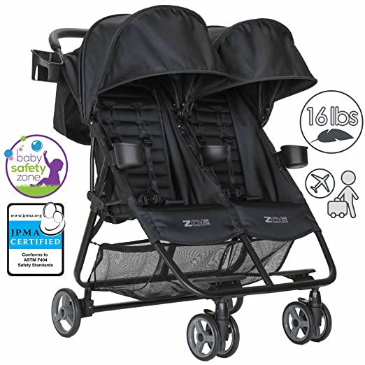 ZOE Umbrella XL2 Double Stroller, BEST - Black