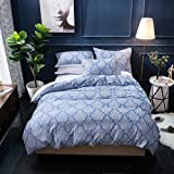 Merryfeel Damask Duvet Cover Set Twin Size, Classic Jacquard Duvet Cover Set - Blue