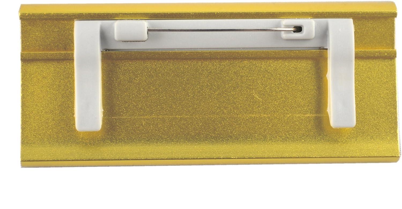 10 Uds Aluminio Placas Identificativas Color Oro Anodizado de Metal,Dimensiones 65x22mm o 72x32 mm,Aguja Clip Metal Cierre Clip,Name Badge Credencial para Ropa Autorrotulable Identificativas con