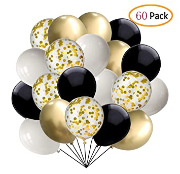 Amazon.com: 60 globos de confeti negros y dorados, de 12 ...