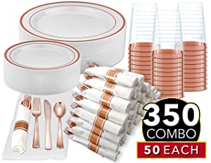 350 Piece Rose Gold Dinnerware Party Set - 50 Guest - 100 Rose Gold Rim Plastic Plates - 50 Pre-Rolled Linen-Feel Napkins with Spoons, Forks, Knives - 50 Rose Gold 10 OZ Plastic Cups