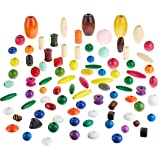 School Smart Assorted Shape Wood Beads - 5/8 to 2 inch - Pack of 75 - Assorted Colors