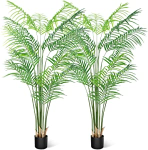 CROSOFMI Artificial Areca Palm Plant 5.5Feet Fake Tropical Palm Tree, Perfect Faux Dypsis Lutescens Plants in Pot for Indoor Outdoor House Home Office Garden Modern Decoration Housewarming Gift-2Pack