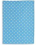 Torchon métis imprimé, lin&coton, TRIOLINO®, motif petit points, bleu, 50x70 cm
