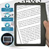 3X Large Ultra Bright LED Page Magnifier with 12 Anti-Glare Dimmable LEDs (Provide More Evenly Lit Viewing Area…