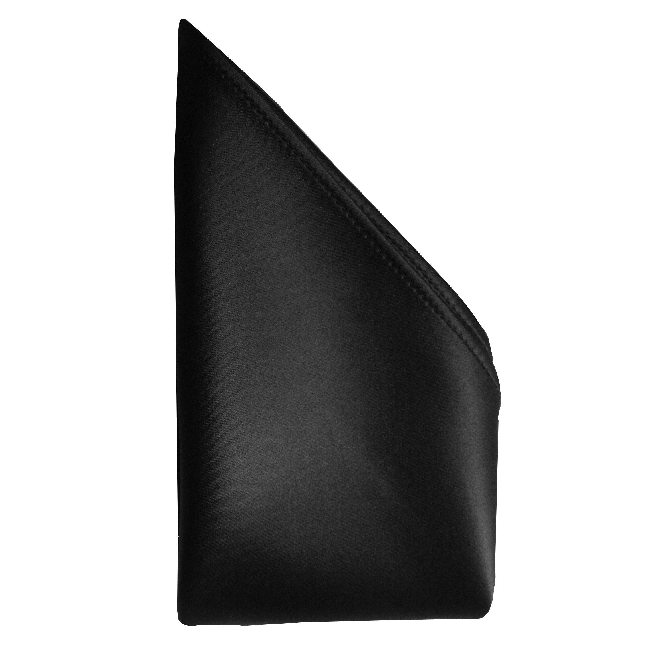 Creamy Satin Silk Handkerchief by Royal Silk - Black - Full-Sized 16''x16''