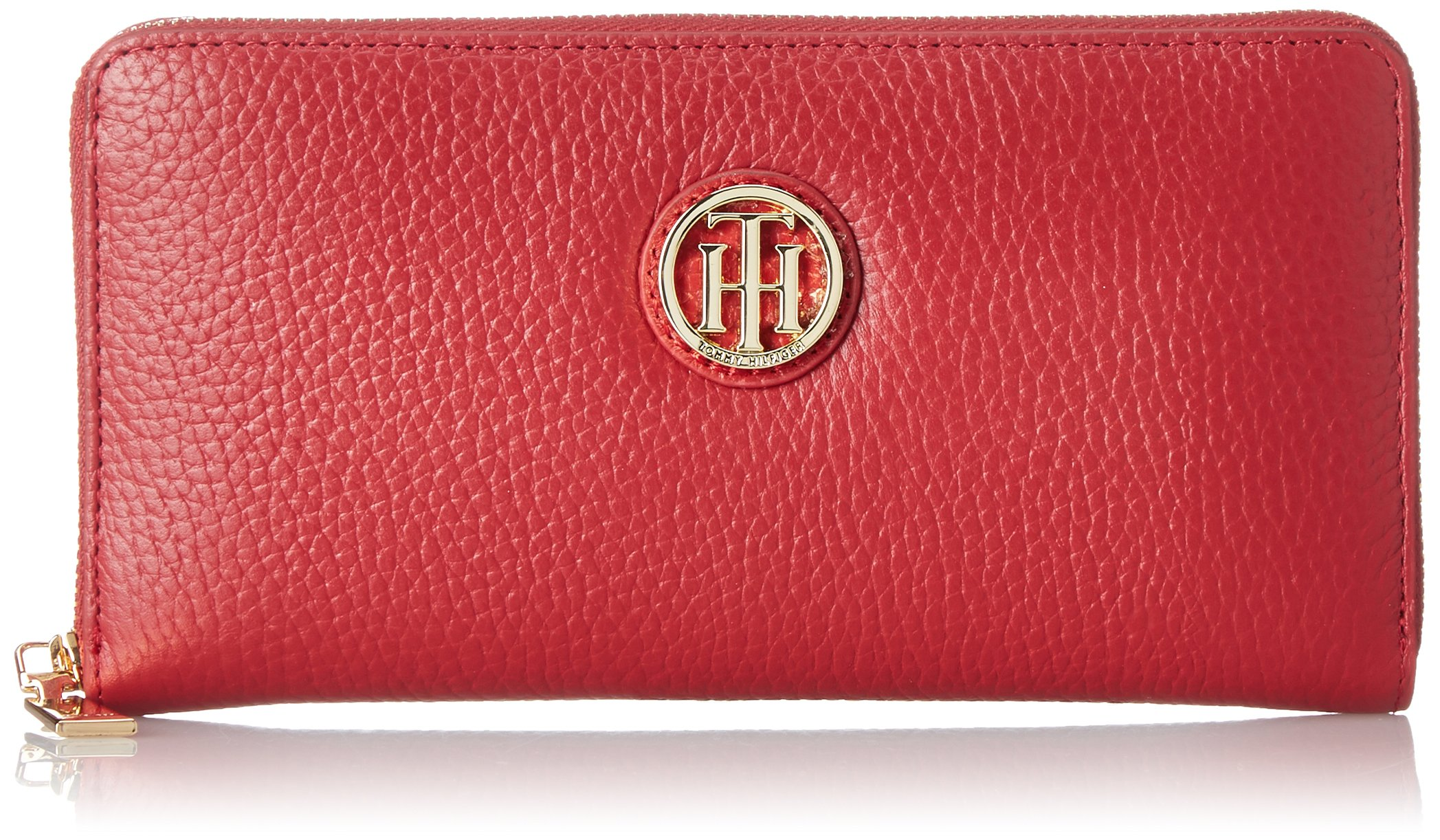 Tommy Hilfiger Lucky Charm Pebble Zip Wallet, Red, One Size