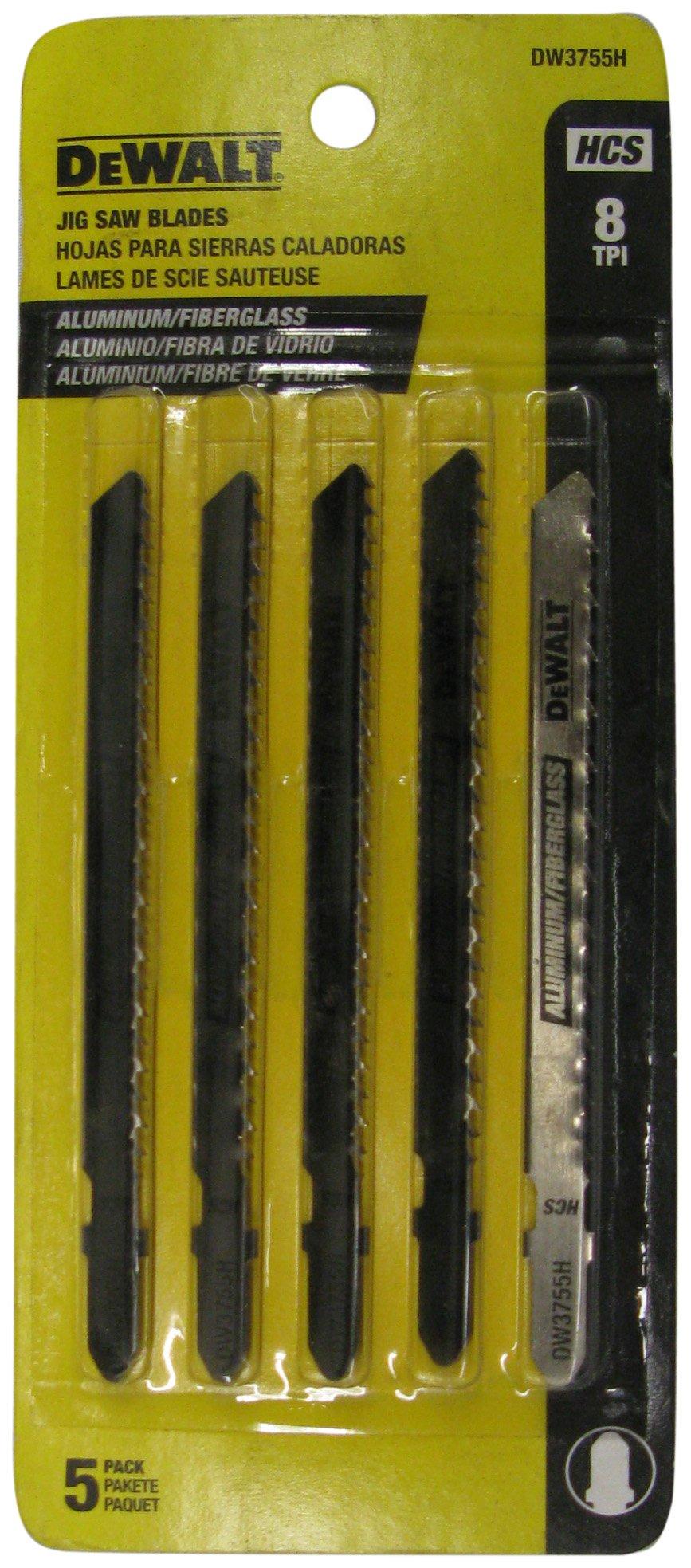 DEWALT DW3755H 4-Inch 8 TPI Aluminum/Fiberglass Cut HCS T-Shank Jig Saw Blade (5-Pack)