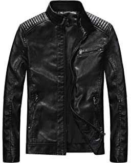 a2a4ab313 Nantersan Men's Leather Jacket Stand Collar PU Mens Faux Fur Coats ...