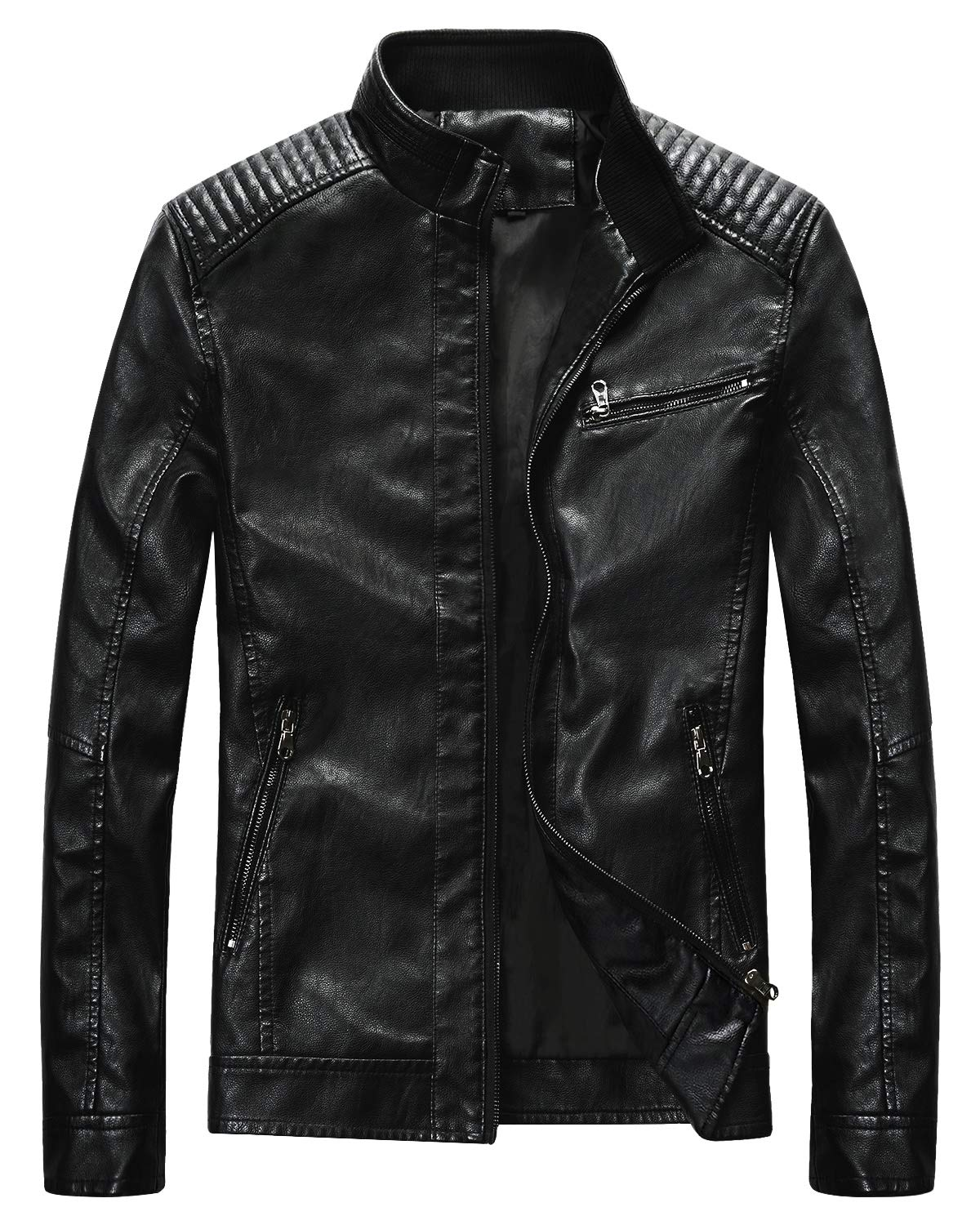 Fairylinks Leather Jacket Men Black Motocycle Lightweight Classic, Black, Small by Fairylinks