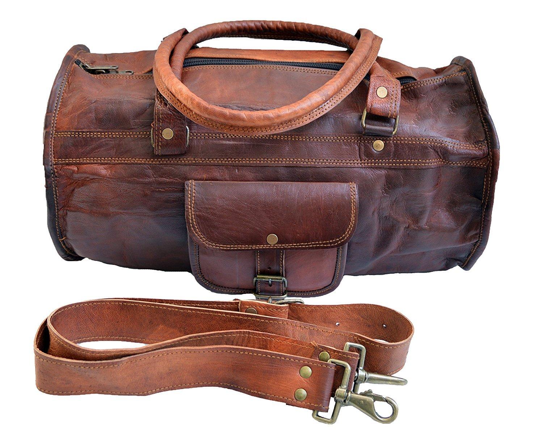 Cuero Shop 18 Genuine Leather Mens Duffle Bag sports bag carry on bag weekender holdall bag