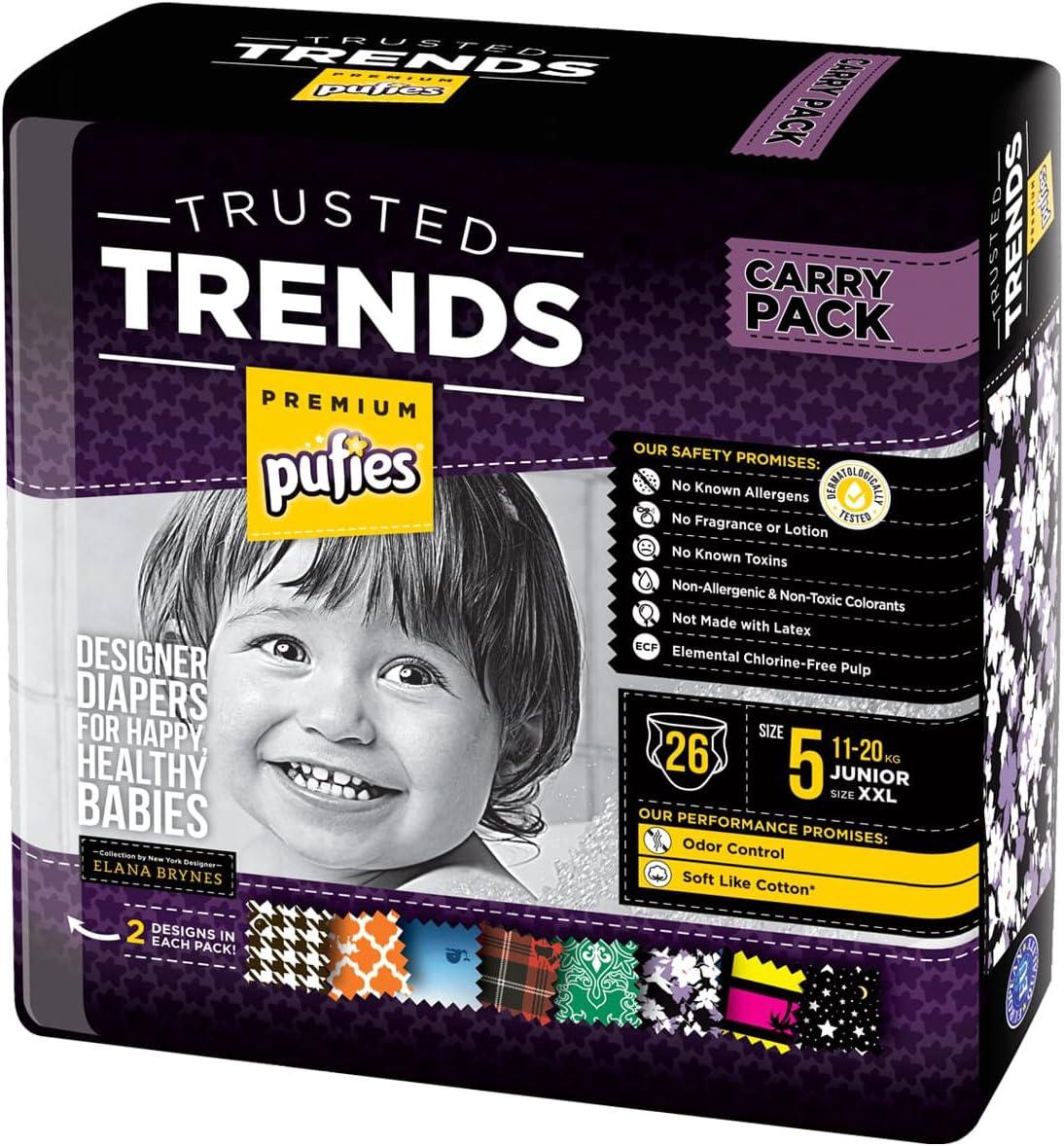 3-6 kg 144 pa/ñales estampados de la talla 2 Pufies Trusted Trends Paquete de pa/ñales para beb/é con dise/ños Scallop