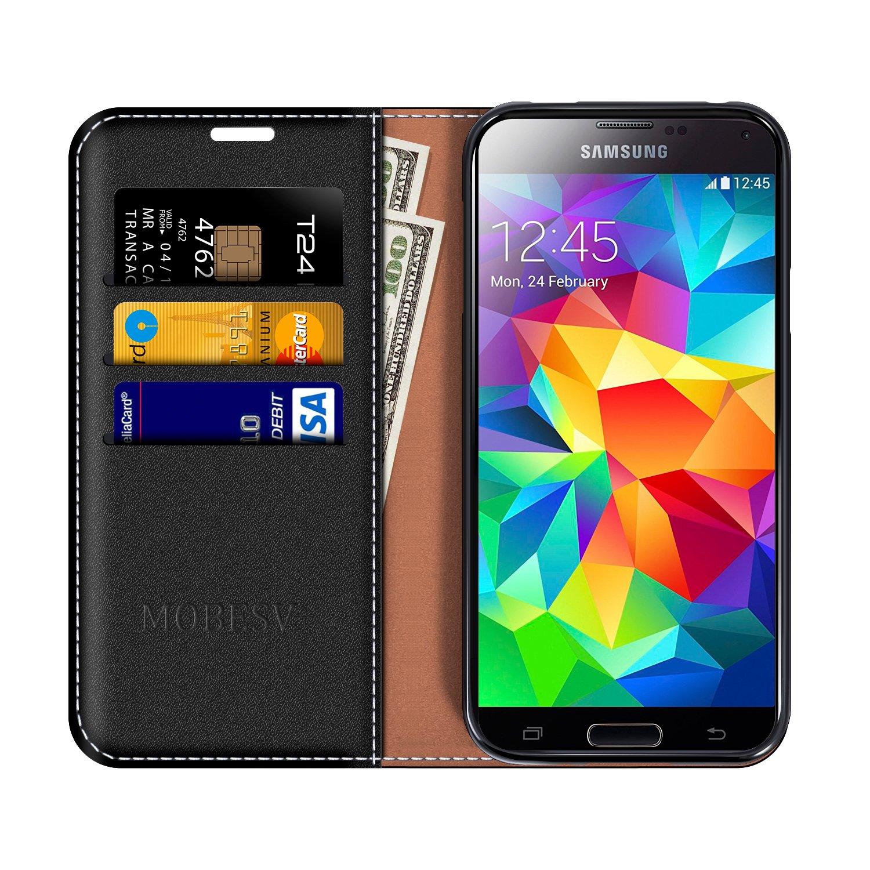 MOBESV Funda Cartera Samsung Galaxy S5, Funda Cuero Movil Samsung S5 Carcasa Case con Billetera/Soporte para Samsung Galaxy S5 / S5 Neo - Negro
