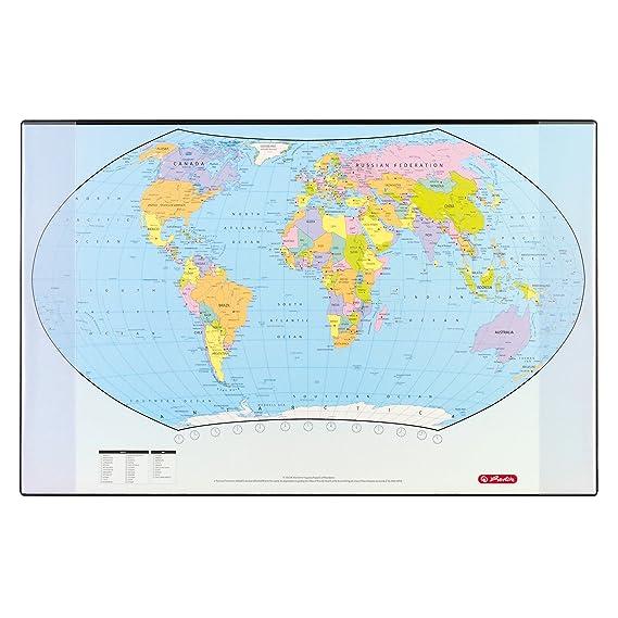Herlitz 5552203 Schreibunterlage Weltkarte 70x45cm