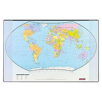 Carte Du Monde Allemagne.Herlitz 5552203 Sous Main Carte Du Monde Langue Anglaise 70 X 45 Cm Import Allemagne