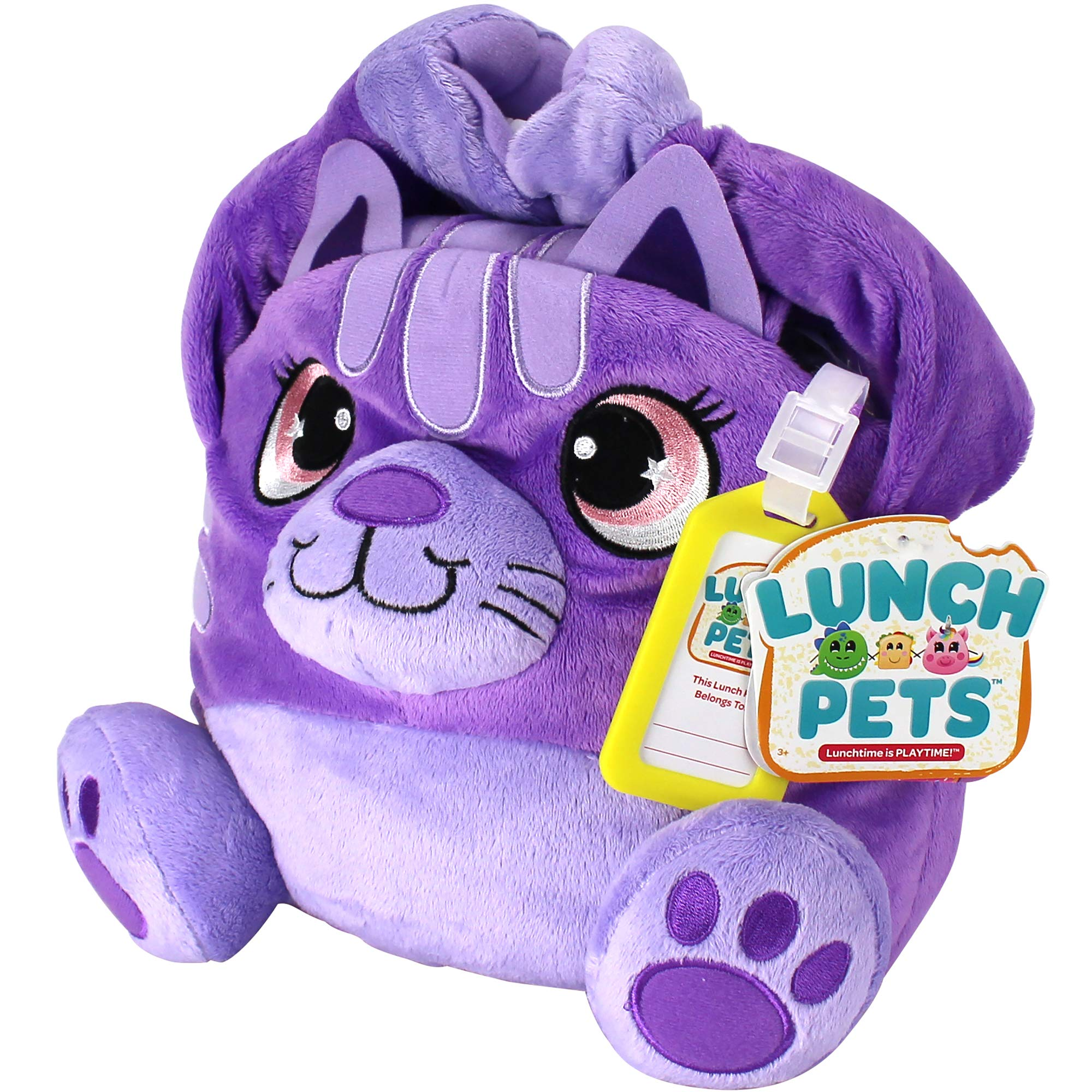 Lunch Pets Amazing, Plush Animal Combination – SnackyCat Style Kids Lunch Box, Travel Size, Purple