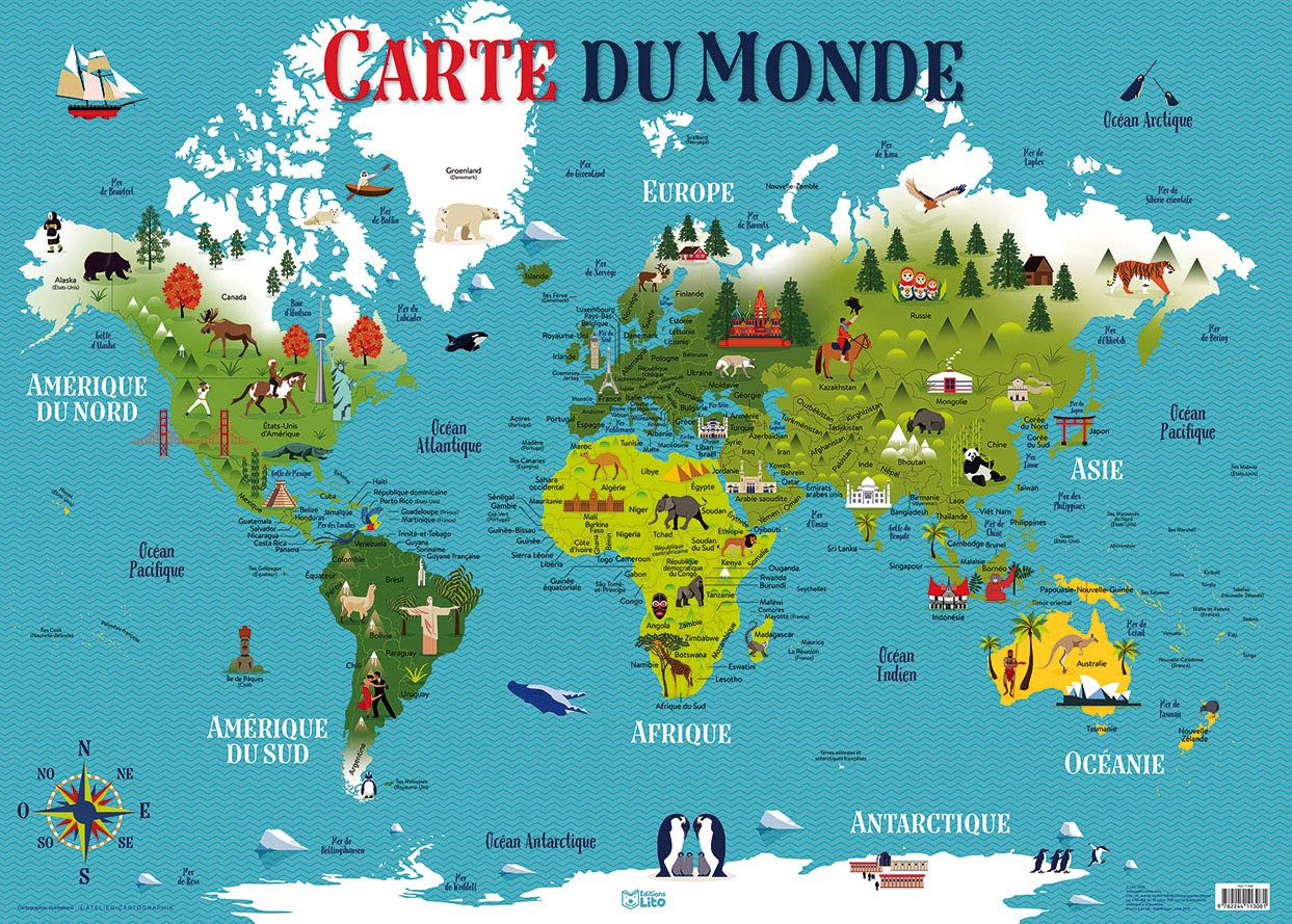 carte du monde image Poster Carte du Monde: 9782244113081: Amazon.com: Books