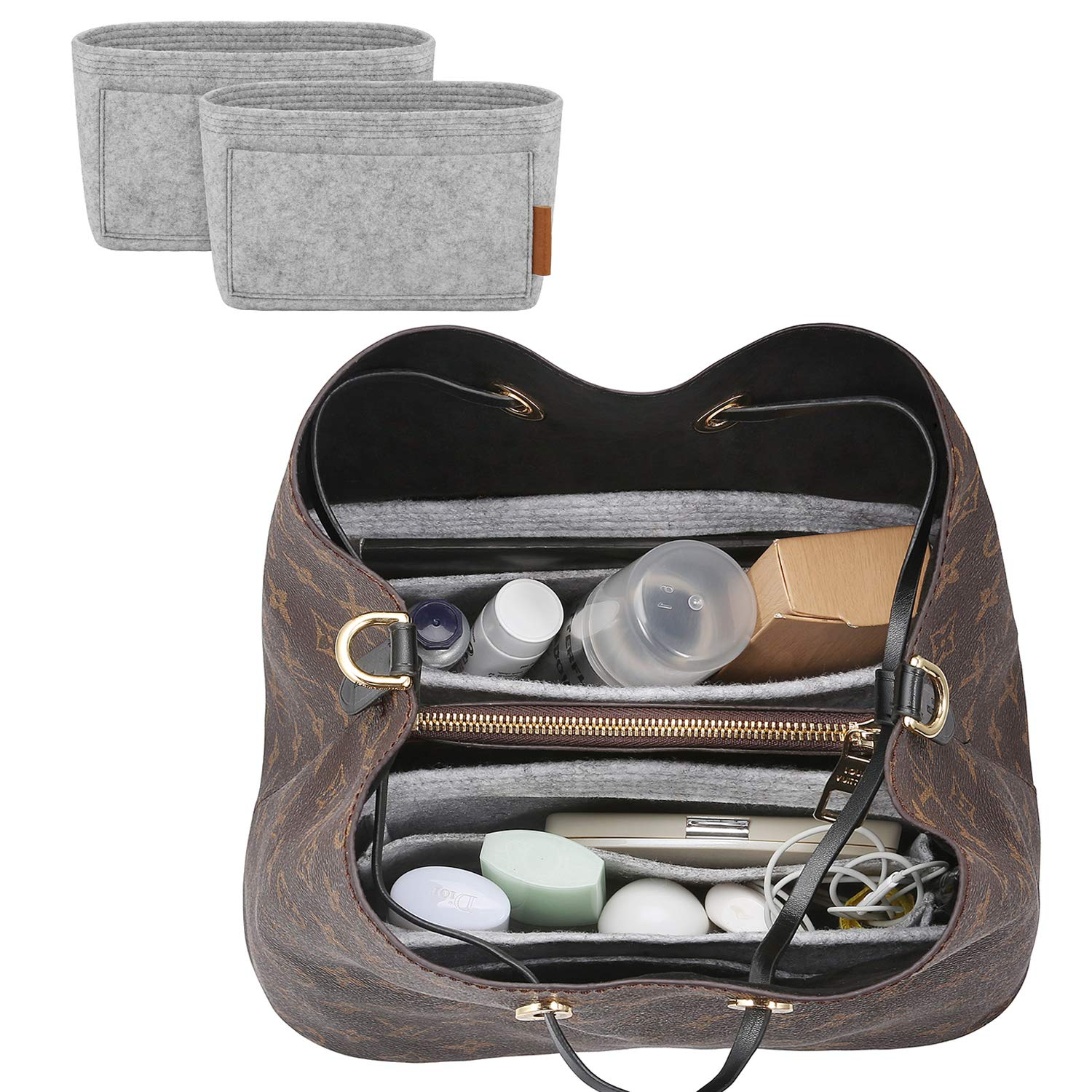 FOREGOER Felt Purse Insert Handbag Organizer Bag in Bag Organizer with Handles