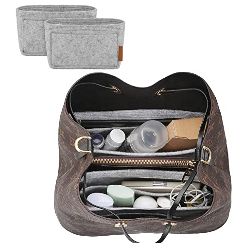 LEXSION Organizer,Bag Organizer,Insert purse organizer with 2 packs in one set fit LV NeoNoe No/é Series perfectly